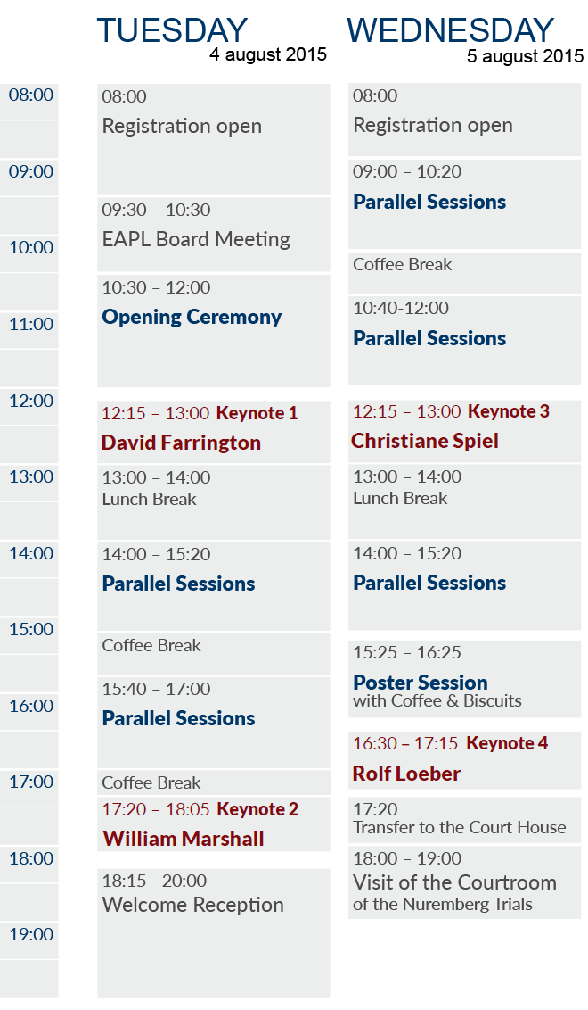 EAPL 2015 Timetable Tuesday & Wednesday