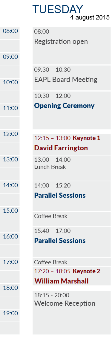EAPL 2015 Timetable Tuesday